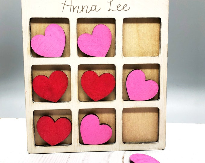 Featured listing image: Personalized Wooden Tic-Tac-Toe Game Valentine's Day, kids game, handmade travel size, great gift idea
