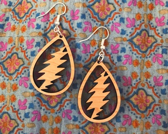 Bonnie Laser Cut Wood Earrings Deadhead, Classic Rock, Hippie Music Inspired