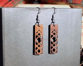Amber Laser Cut Wood Earrings