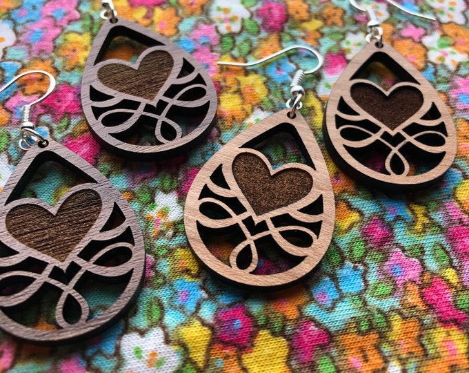Featured listing image: Dorothy Laser Cut Wood Earrings