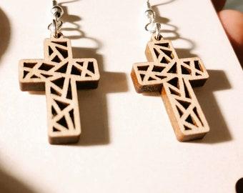 Faith Laser Cut Wood Earrings