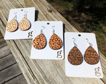 Ericka Laser Cut Wood Earrings