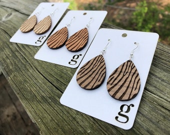 Alisha Laser Cut Wood Earrings