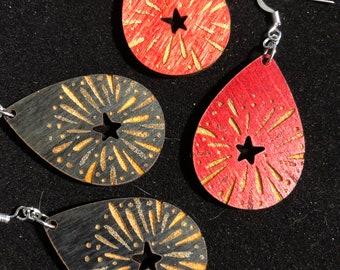 Julie Engraved Wood Earrings