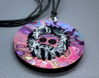 Jerry Hand-Stitched/Hand-Painted Grateful Dead Inspired Pendant