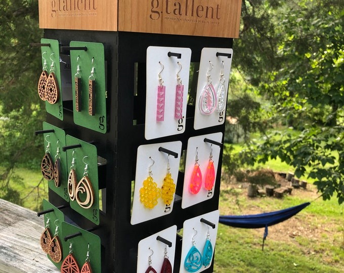 """Featured listing image: DIGITAL FILE-Lazy Susan Earring Display 14.5"""" x 6.5"""" x 6.5"""" - svg / pdf Laser Cut File - instant download"""