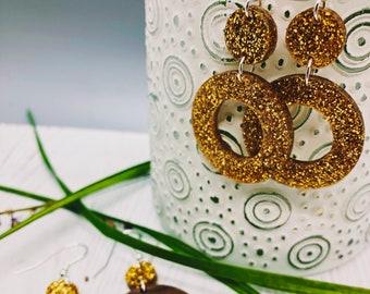 Tena Glitter+Wood Earrings