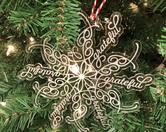 Grateful Snowflake Acrylic Ornament