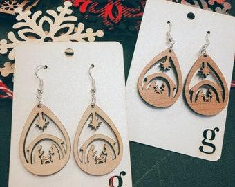 Christa Laser Cut Wood Earrings