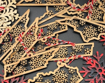 Laser Cut Wood State Christmas Ornament