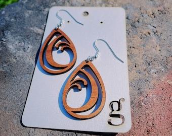 Johnie Laser Cut Wood Earrings