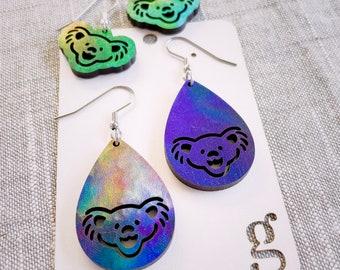 Sue Laser Cut Tie-Dye Earrings Festival Jewelry Jerry Bear