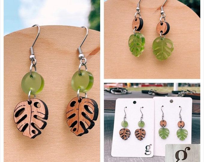 Featured listing image: Meara — Monstera Dangle Earrings