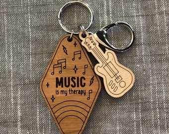 My Therapy Laser Cut Wood Keychain