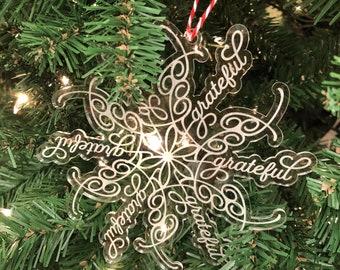 Grateful Snowflake Acrylic Ornament