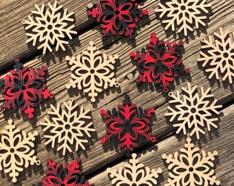Rustic Buffalo Plaid or Unfinished Birch Snowflake Ornaments