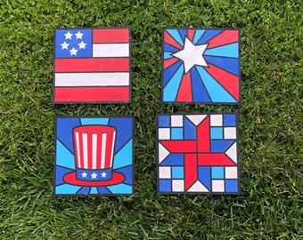 Patriotic Quilt Square Kit | DIY | Paint Your Own | Barn Quilt | Paint Party | Home Decor