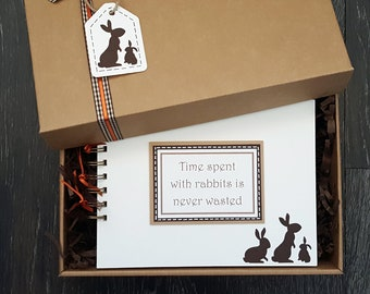 """Rabbit lover gift - rabbit scrapbook - bunny lover gift - bunny rabbit gift - rabbit themed gift - 8""""x 6"""" Memory Book - can be personalised"""