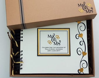 """Mr and Mrs Wedding Guest Book - Black and Gold Wedding Album - Elegant Style Wedding Guestbook - 10"""" x 8"""" Scrapbook, handmade - personalised"""