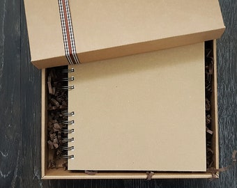"Kraft scrapbook - Blank journal - Rustic handmade 8""x8"" boxed memory book"