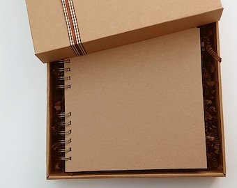 "Kraft scrapbook - Blank scrapbook - Rustic scrapbook - Plain scrapbook - kraft journal - handmade scrapbook - 8""x8"" boxed memory book"