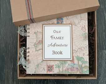 """Our family adventure book, 8""""x8"""" handmade scrapbook in gift box - can be personalised"""