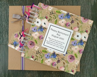 """Retirement Gift for Women / Teachers - Personalised Floral Scrapbook - Leaving Guestbook - 8""""x8"""" album with gift box"""