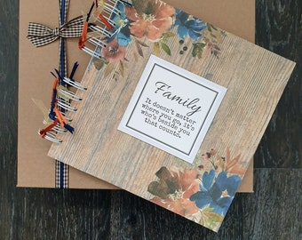 """Family scrapbook, gift for mum, 8"""" x 8"""" handmade memory book with gift box, can be personalised"""