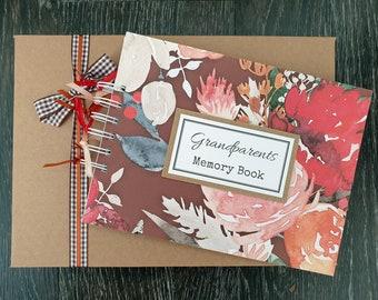 "Grandparents boasting book, keepsake gift for grandma / nanny, 8""x 6"" handmade scrapbook with gift box"