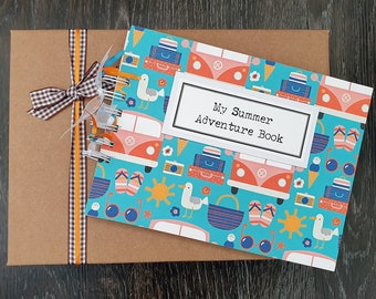 """Kids summer holiday craft activity, 8""""x 6"""" handmade adventures scrapbook with gift box, can be personalised"""