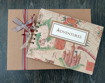 """Kids holiday activity, 8""""x 6"""" handmade adventures scrapbook with gift box, can be personalised"""