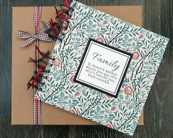 """Family scrapbook, William Morris design, gift for mum, 8"""" x 8"""" handmade memory book with gift box, can be personalised"""