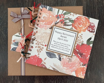 """Retirement Gift for Women / Teachers - Boho Floral Scrapbook - Leaving Guestbook - 8""""x8"""" album, handmade and personalised with gift box"""