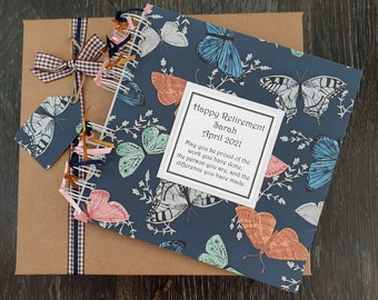 """Retirement  / Leaving Gift for Women, Butterfly scrapbook album, handmade and personalised 8"""" x 8""""memory book with gift box"""