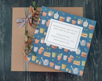 """Retirement Gift for Men / Teachers - Personalised Gardening Scrapbook - Leaving Guestbook - 8""""x8"""" album with gift box"""