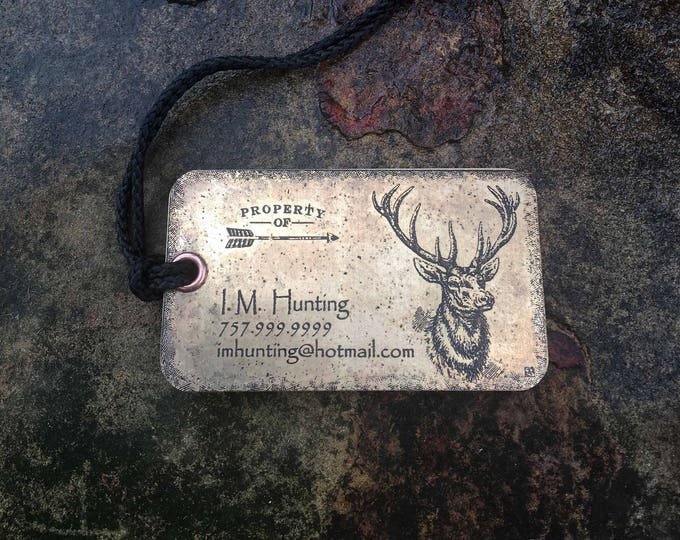 Set of two (2) Personalized Metal Luggage Tags, Hunting Backpack Tags, Personalized Luggage Tags, Deer Hunter gift