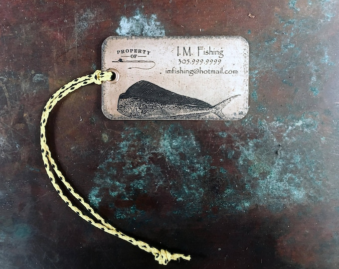 Set of two (2) Personalized Metal Luggage Tags, Fishing Bag Tags, Personalized Brass Luggage Tags, Fisherman gift
