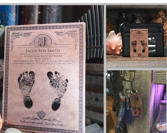 Your Child's Actual Footprint, Baby Footprint, Gift for Mom, Father's Day Gift, Baby Foot Print Keychain, Baby Footprint Wallet Card