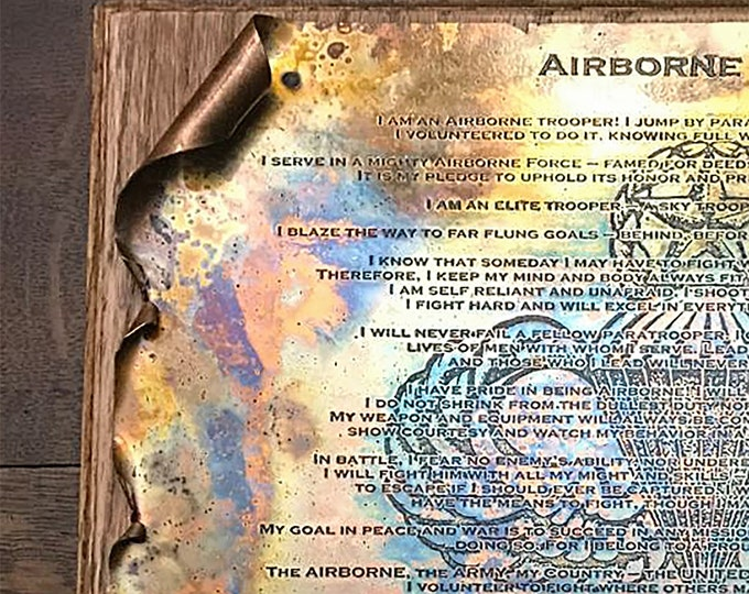 Copper Airborne Creed Scroll, Military Gift