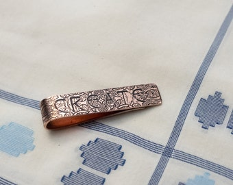 Men's Personalized Tie Bar - 7th Anniversary Gift - Copper Tie Clip - Gift for Him - Nu Gold Tie Bar - Monogram - Groomsmen Gift