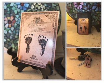 Copper Baby Footprint, Gift for Mom, Gift for Dad, Mother's Day Gift, Father's Day Gift, Baby Foot Print Keychain, Footprint Wallet Card
