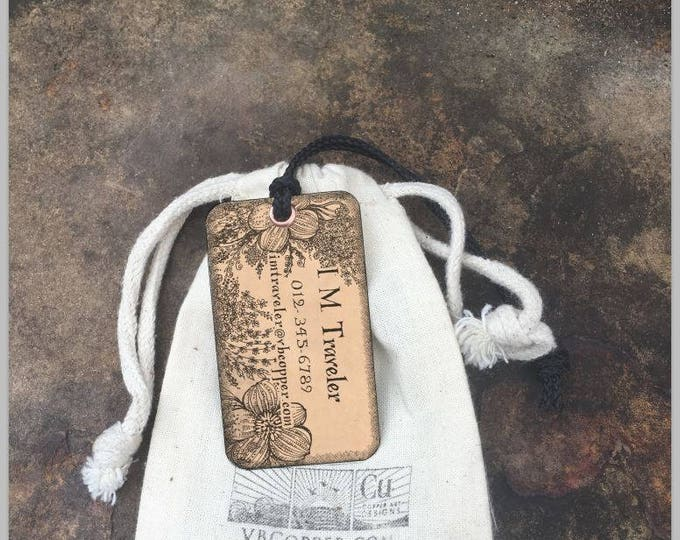 Luggage Tag Personalize Set of two (2) tags, Copper or Brass Personalized Luggage Tags, Wedding Gift for couples, Backpack Tags, Custom Tags