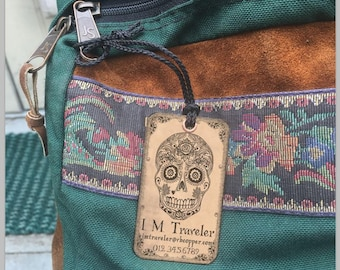 Set of two (2) Copper or Brass Luggage Tags, Personalized Luggage Tags, Gift for couple, Personalized Tags, Día de Muertos, Day of the Dead