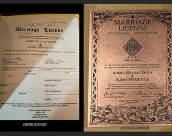 Marriage Certificate, Wedding Keepsake, 7 Year Anniversary Keepsake, Copper Anniversary