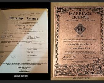Marriage Certificate, Wedding Keepsake, 7 Year Anniversary Keepsake, Copper Anniversary