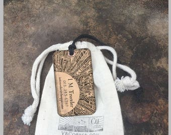 Set of two (2) Copper or Brass Luggage Tags, Personalized Luggage Tags, Gift for couple, Personalized Tags, Backpack Tags, Custom Tags
