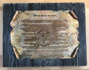 Copper Navy SEAL Ethos Scroll, Military Gift