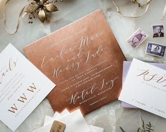 Copper Wedding Invitation, Marriage Certificate, Wedding Invitation Keepsake, Wedding Gift for Couple's, 7 Year Anniversary Keepsake