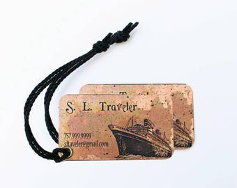 Set of two (2) Travel Luggage Tags - Custom Luggage Tags - Copper Tags - Personalized Luggage Tags - Honeymoon Gift - Travel Gift