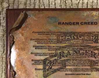 Copper RANGER Creed Scroll, Military Gift